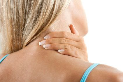 Women holding neck pain