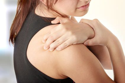 Women holding shoulder pain
